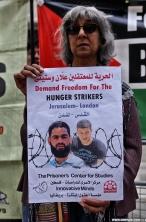 وقفة احتجاجية أمام ال BBC البريطانية تضامناً مع المعتقل المضرب علان بالشراكة مع مركز الأسرى للدراسات